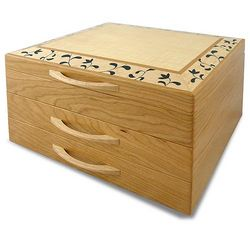 Floral Marquetry Wood Jewelry Chest