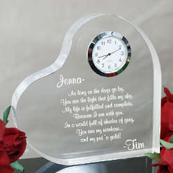 Engraved Heart Anniversary Clock