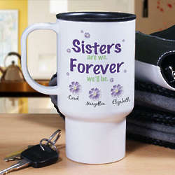 Sisters Forever Personalized Travel Mug