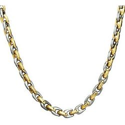Men's Stainless Steel Two Tone Horseshoe Link Chain