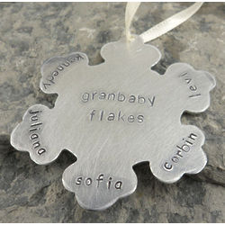 Personalized Hand Stamped Snowflake Ornament
