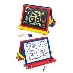 Tabletop Chalkboard and Dry-Erase Board Easel Toy