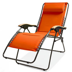 Orange Extra Wide Zero-Gravity Outdoor Lounge Chair