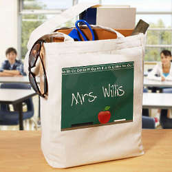 Chalkboard Design Personalized Teacher Canvas Tote Bag