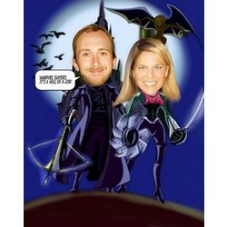 Wizard and Witch Custom Photo Caricature Print