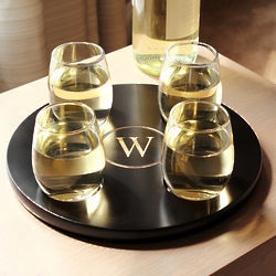 Personalized Round Wine Flight Sampler with Glass Set