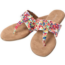 Floral-Print Thong Sandals