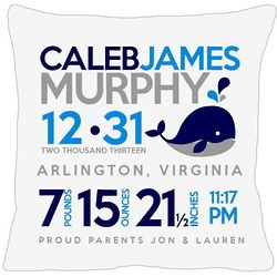Personalized Birth Announcement Baby Whale Pillow