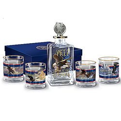Spirit of Freedom Patriotic 5-Piece Glasses and Decanter Gift Set