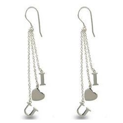 Tiffany Inspired Sterling Silver I Love You Earrings