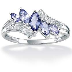 Tanzanite and Diamond Accent 10k White Gold Marquise-Cut Ring