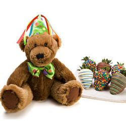 Six Birthday Berries and Birthday Bear