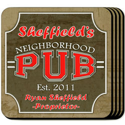 Personalized Coaster Set with Neighborhood Pub Image