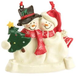 Personalized Christmas Snow Couple Ornament