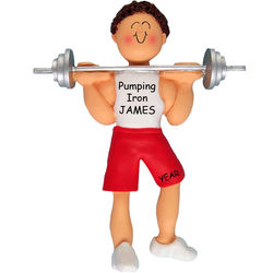 Male Brown Hair Weight Lifting Ornament