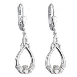 Sterling Silver Claddagh Trinity Knot Drop Earrings