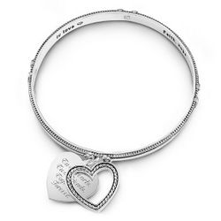 Engraved Swinging Heart Bangle