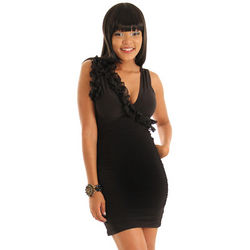 Sexy Shirred Ruffle Accented Black Cocktail Dress