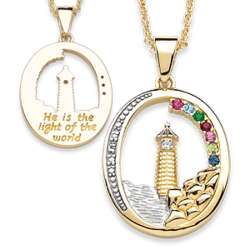 Two-Tone Birthstone Oval Lighthouse Pendant with Diamond Accent