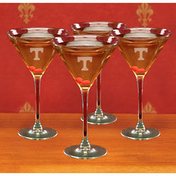 Tennessee Volunteers Etched Martini Glasses