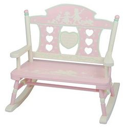 Rock-A-My-Baby Pink Mini Rocking Bench