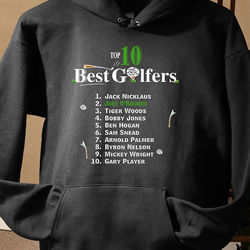Top Ten Golfers Personalized Hooded Sweatshirt