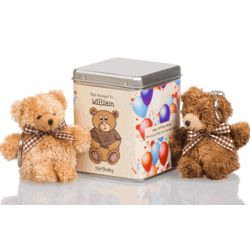Teddy Bears in Personalized Birthday Tin