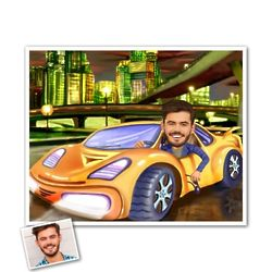 Sports Car Custom Photo Caricature Print