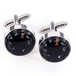 Rhodium Plated Cuff Links with Thermometer