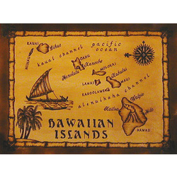 Handmade Hawaiian Leather Tiki Map in Natural with Rods