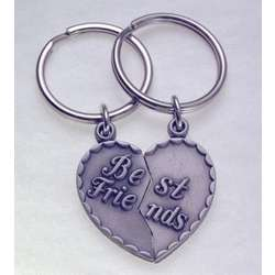 Personalized Best Friends Heart Key Ring Set
