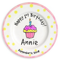 Personalized 1st Happy Birthday Cupcake Plate Girl