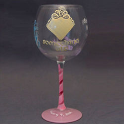 Just Got Engaged Handpainted Wine Glass for a Bride