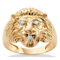 Men's Diamond Accent 10k Lion Ring
