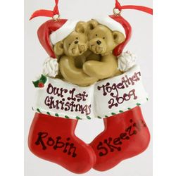 Personalized Bear Couple in Stockings Ornament