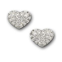 Heart Shaped Earrings with Swarovski Clear Crystals