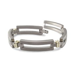 Titanium and 18K Gold Bar Link Bracelet