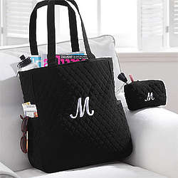 Personalized Quilted Tote and Makeup Bags