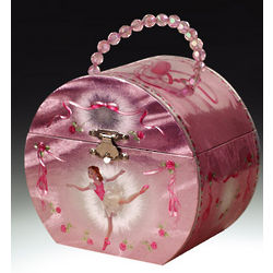 Pink Silver Ballerina Musical Jewelry Box