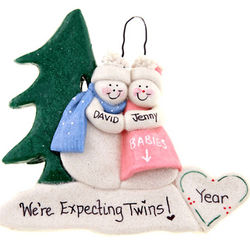 Expecting Twins Snowman Couple Ornament