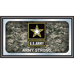 U.S. Army Logo Framed Mirror with Camo Backdrop