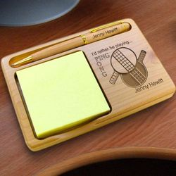 Personalized Ping Pong Wooden Notepad & Pen Holder