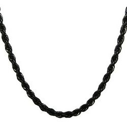 Men's Black-Plated Stainless Steel Rope Chain