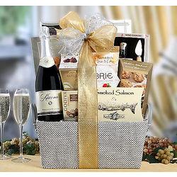 Kiarna Sparkling Wine, Salmon, Caviar and Sweets Gift Basket