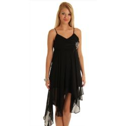 Black Dainty Chiffon Kerchief Cocktail Dress