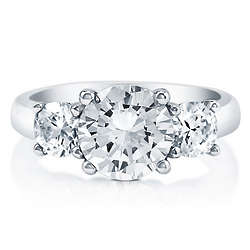 Round Cut Cubic Zirconia Sterling Silver 3-Stone Ring
