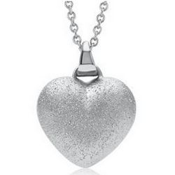 Sterling Silver Diamond Cut Domed Heart Pendant