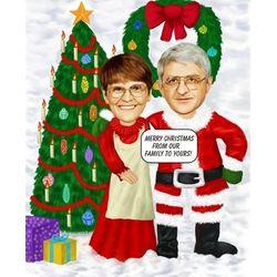 Christmas Couple Custom Caricature Print