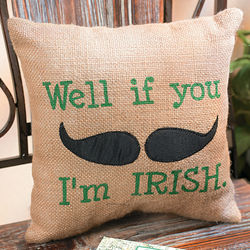 Irish Mustache Throw Pillow