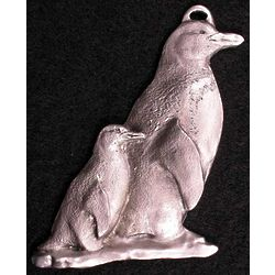 Penguin Mother and Chick Pewter Ornament